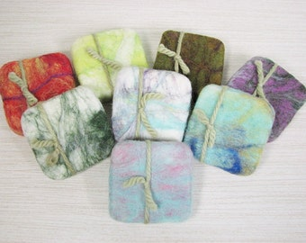 Clearance Sale!! Green Tea Felted Soap in a sweater - Shea Butter Hand-made