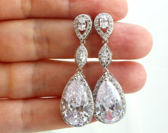 Bridesmaid Gift Bridal Earrings, Wedding Earrings  Cubic Zirconia Teardrop Earrings Sparkly Crystal, Dangle Earrings bridal, bridesmaid gift