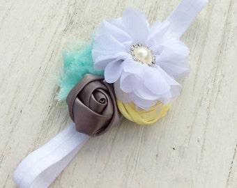 White gray mint grey Girl headbands chiffon baby girls headband rolled rosette ruffle elastic rolled rosette whimsical flower infant newborn