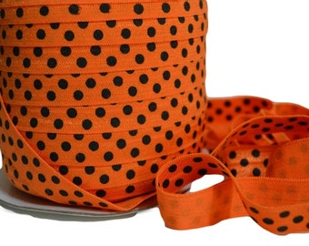 "Orange Polka Dot Fold Over Elastic, 5/8"". Polka Dot FOE. Halloween FOE. 5 Yards. PFOE-3008"