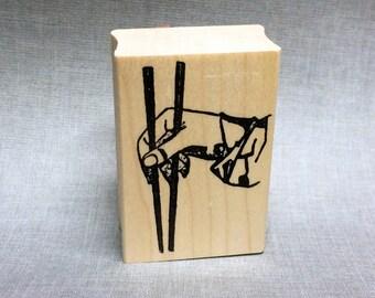 Hand Holding Chopsticks Rubber Stamp