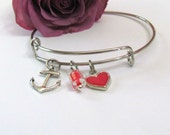Expandable Bangle Bracelet -Anchor - heart - bead charms - Gift box included - simple everyday wear