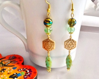 SALE--ELEGANT GYPSY earrings - crystal earrings -Moroccan earrings-Arabian inspired earrings -dangle boho earrings