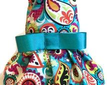 Dog Clothes - Dog Dress - Teal Paisley Dog Dress - Dog Harness - Dog Harness Dress - Dog Clothing - Pet Clothes - Dog Dresses