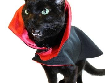 CAT CLOTHES - Cat Halloween Costume - Vampire Cat Costume - Vampire Cape - Dracula - Halloween Costume - Pet Costume