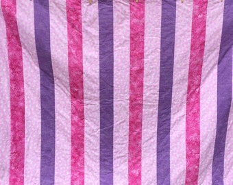 baby girl quilt - pink and purple stripes - flannel back - homemade quilt