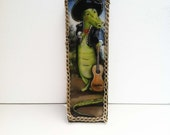 Alligator with hat and guitar /Mariachi/ Unique childrens art/ Resin coated mounted print with gold chain frame