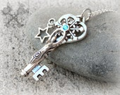 Key to my Heart Necklace / Snowflake Pendant Necklace / Skeleton Key Necklace / Wiccan Jewelry / Pagan Jewelry / Goddess Jewelry / Turquoise