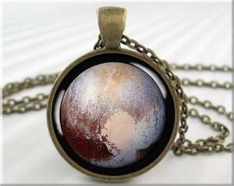 Pluto Pendant Necklace, Resin Charm, Planet Pluto Jewelry, Space Gift, Planet Pendant, Gift Under 20, Round Bronze Pendant (701RB)