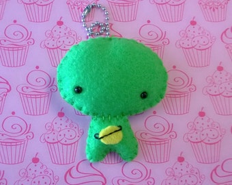 Stuffed Green Alien Keychain Plush Plushie Softie Stuffed Animal Ooak Gift Cute Small Outer Space Planet