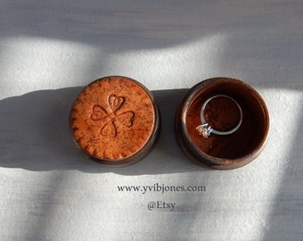 Rustic Mandala Ring Box Pretty Pill Box, Mens Jewelry Keepsake Box for Valentine's Day Anniversary Birthday Gift Handmade Pottery Wooden Box