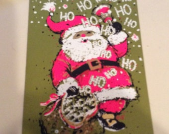 Ho Ho Ho, Santa Card, Pink Santa, Christmas Presents, Holiday Card, Home Decor, Christmas Decor, Holiday Cheer, Merry Christmas, Xmas Card