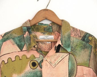 Mens Vintage Guess Georges Marciano Shirt Abstract Picasso Cubist Pattern 100% Rayon 1980s Large