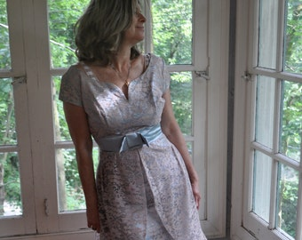 Lavender Lace Overlay Party Dress/Vintage 1950s 1960s/Light Blue Satin/Size Small to Medium