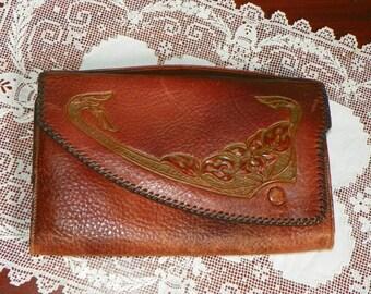 Antique Deco Art Nouveau Leather PURSE WALLET Clutch Hand Tooled floral