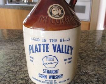 Vintage McCormick Platte Valley Whiskey Crock / Jug  -1950's
