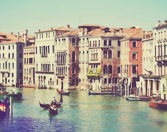 Venice Photography, Italy Photograph, Europe Art, Large Wall Decor, Travel Photo, Print, Canal, Boat, Pastel Shades, Water, Home Decor, Blue