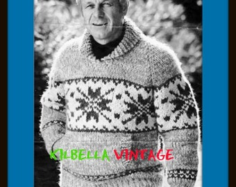 Cowichan Sweater White Buffalo Wool Chinook Men's Digital Knitting Pattern for Pullover Sweater Instant Download on Etsy