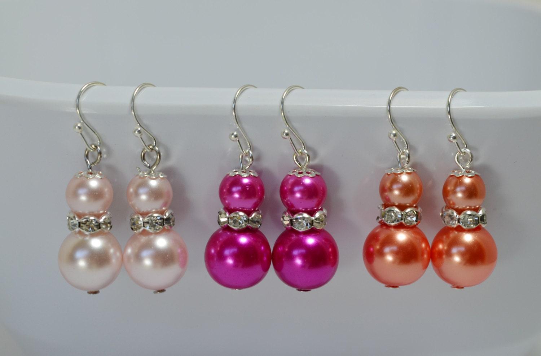 pearl dangle earrings coral pearl earrings blush pearl
