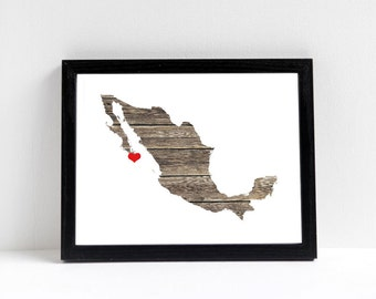Mexico Map - Custom Personalized Heart Print - I Love Cancun - Hometown Wall Art Gift Souvenir - Destination Wedding