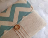 ipad mini case and iphone 6 front pocket -  Samsung tablet-  large blue chevron fabric