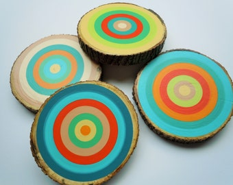 Coasters, Painted Tree Rings, Wood Slice Coasters, Table Decor, Serving, Hostess Gift, Dinner Party, Cocktails, 8 Dollars Per Coaster
