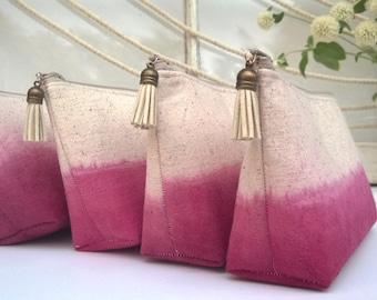 Fuscia Ombre Clutch Purses, Pink Bridesmaid Gifts, Bohemian - Set of 3