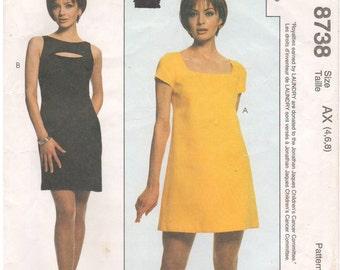 1997 - McCalls 8738 Sewing Pattern Sizes 4/6/8 Laundry Shelli Segal Fitted Dress Darts Sleeveless Keyhole