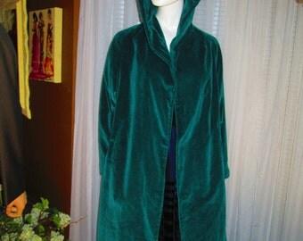1950's /60's Ladies Dark Green Cotton Velour HOODED COAT---No Label/Maker
