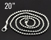 "48 Silver Ball Chain Necklaces - WHOLESALE - 2.4mm - 20"" Long - Ships IMMEDIATELY from California - CH502c"