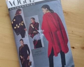 Uncut Vogue Sewing Pattern 8555 - Vogue accessories - Designed by Bebe Winkler - Misses Cape, Shawls & Pouch