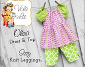 Olivia Peasant Dress Patterns. Long & Short Sleeve Peasant Tops, Toddler Dress pdf Patterns, Girls Sewing Patterns, Girls Dress Patterns.