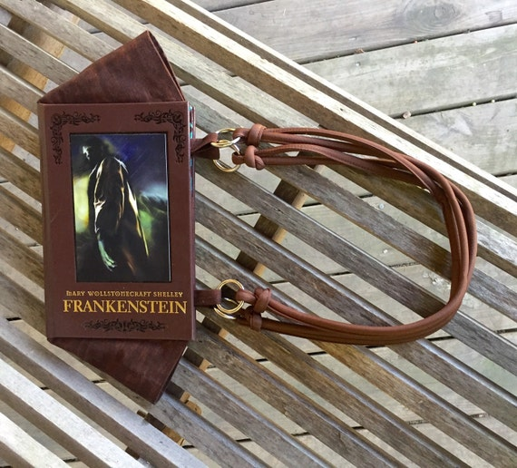 Frankenstein - Brown Leather Book Purse - ready to ship