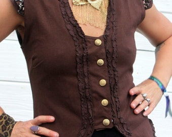 Brown Ladies Victorian Stretch vest with ruffles, lace and Sri Yantra Brass snaps