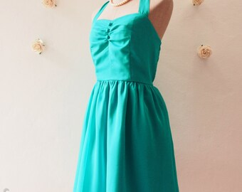 BLOOM : Jade Green Dress Jade Party Dress Jade Green Bridesmaid Dress Vintage Halter Dress Wedding Prom Fancy Dress - XS,S,M,L,XL, Custom