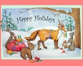 Happy Holiday fox and rabbit printed card watercolor print card by Rebecca Gavney Driscoll