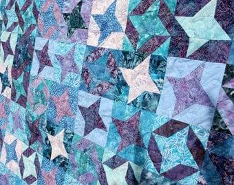 Batik Star Patchwork Quilt, Milky Way in Blue & Purple, Handmade by PingWynny