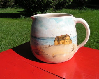 "70s POTTERY Pitcher with Hand Painted BEACH Scene - Signed  "" C Hubby"" Handcrafted  -  Cottage Chic"