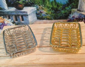 Dollhouse Miniature Vintage Style Golden or Silver Metal Dish Drainer Dish Rack Dish Drying Rack