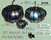3 Metal Art Pumpkins Steel Pumpkins in 3 different sizes