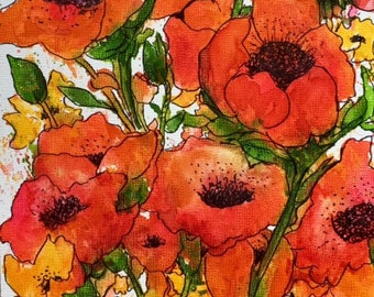 Poppies, Contemporary Home Decor, Great  Gift -  FREE SHIPPING - Original  Art Watercolor Painting by ebsq Artist Ricky Martin