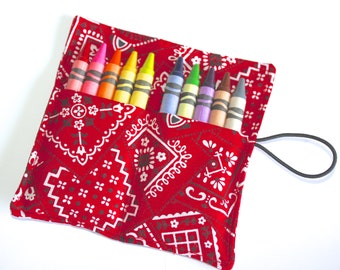 Crayon Roll Party Favors, Red Bandanas, Crayon Rollup, holds up to 10 Crayons, Birthday Party Favors