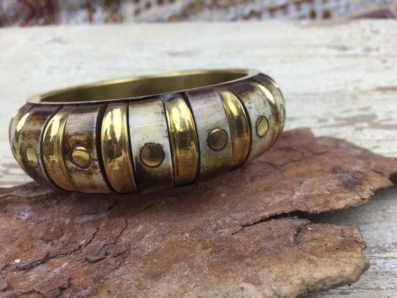 VINTAGE BONE BANGLE - Tibetan bracelet - Handmade - Indian bracelet - Boho - Statement jewelry - Festival - Hippie - Spiritual