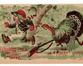 Vintage Thanksgiving Postcard, Boy with Shotgun, 1910s Greeting Post Card, Holiday Postcard, Unused Postcard, Happy Thanksgiving