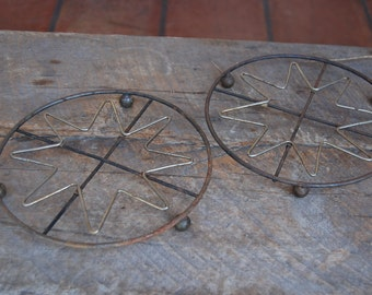 Vintage MID CENTURY modern WIRE trivets- lot of 2