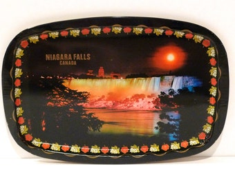 Niagara Falls Serving Tray Vintage Canada Travel Souvenir Kitchen OKeefe Ale Sign Rainbow Effect Lightshow Full Moon 1960s 1970s Decorative