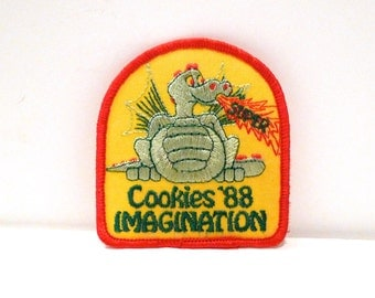 Dragon Patch Vintage Super Imagination Patch 1980s Girl Scout Cookies Theme Embroidered patch Choose Fire Breathing Dragon or Pink Sitting