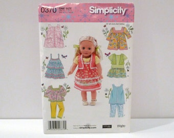 18 Inch Doll Clothes Sewing Pattern Top Camsole Dress Jumper Peasand Blouse Vest Ruffled Skirt FF Uncut Simplicity 0370 Craft Free US Ship