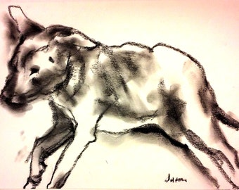 Doggie doodle #12.  Charcoal drawings of my dogs.  Blind Contour. Life Drawing.