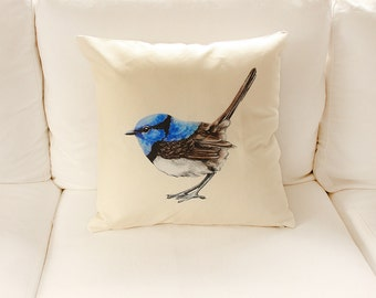 LAST ONE Little Wren Cushion Cover in Linen Cotton, Blue Wren Australian Native Bird | Ready to Ship
